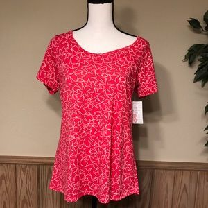 LulaRoe top Callie tee small pink with stars NWT